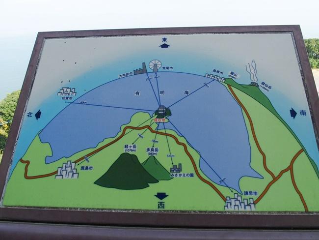 竹崎城跡展望案内板