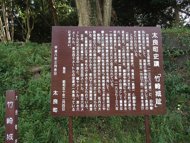 竹崎城跡案内板