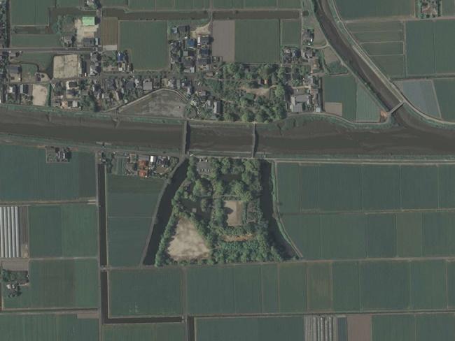 蓮池城跡現在航空写真